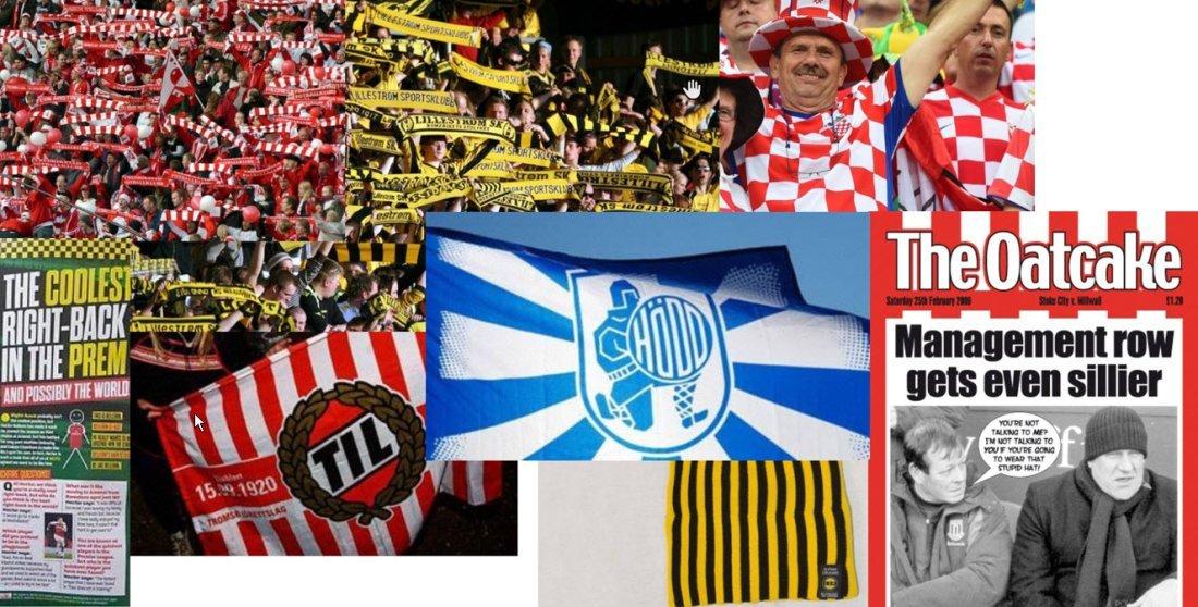 Mønstre, farger, flagg og fotballmagasiner har dannet bakteppet for designet.